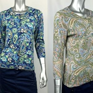 Two Talbot paisley button down sweaters